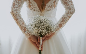 Picture girl, flowers, back, bouquet, the bride