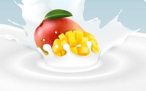 Picture background, milk, mango