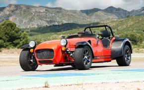 Picture mountains, orange, lights, car, Caterham, Worldwide, 485 R