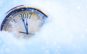 Picture snow, arrows, watch, figure, year, 2017
