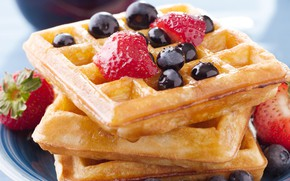 Picture berries, strawberry, waffles, blueberries, gray