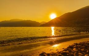 Picture sunset, lake, Switzerland, Switzerland, Canton of Ticino, Tenero