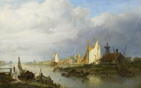 Picture landscape, tree, oil, picture, The ships on the River Near the Lighthouse, Hendrik Vettewinkel