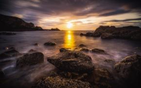 Picture sunset, rocks, coast, Scotland, Moray Firth, Shotlandiya, Portknockie