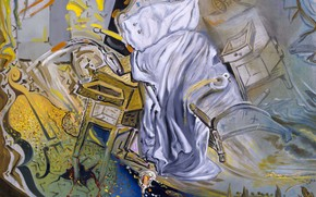 Wallpaper surrealism, picture, Salvador Dali, Salvador Dali, Ferociously Attacking A Cello, Bed and Two Bedside Tables