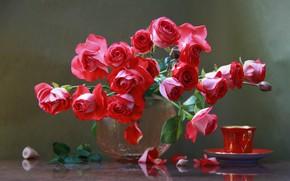 Wallpaper flowers, roses, petals, Cup, vase, shell, Natalya Kudryavtseva