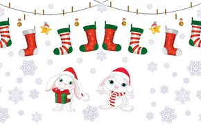Picture holiday, gift, vector, sock, art, New year, Bunny, children's