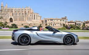 Picture road, the sky, grey, movement, markup, building, BMW, profile, Roadster, hybrid, 2018, i8, i8 Roadster
