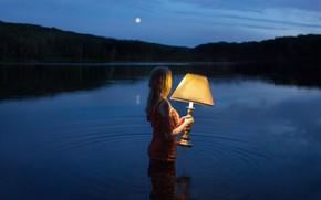 Wallpaper lamp, the situation, night, girl, mood, lake