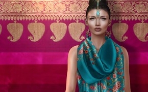 Picture girl, fabric, decoration, the Indian woman