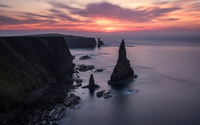 Picture sea, clouds, rock, Scotland, glow, Duncansby Head