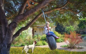 Picture summer, house, swing, dog, girl, lawn