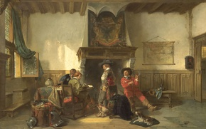 Wallpaper oil, Herman Frederick CAREL ten Kate, interior, picture, Guardroom with Soldiers