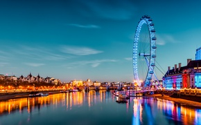 Picture water, the city, lights, river, England, London, building, ships, the evening, wheel, attraction