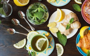 Picture lemon, citrus, mint, ginger, Tea, Beverage