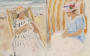 Picture figure, picture, Henri Lebasque, Henri Lebacq, Two young women on the beach of Saint-Jean-de-Monts