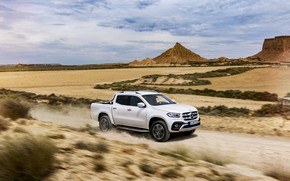 Picture white, the sky, clouds, movement, vegetation, Mercedes-Benz, dust, plain, valley, horizon, pickup, primer, 2017, X-Class