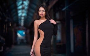 Picture pose, model, makeup, figure, dress, brunette, hairstyle, bokeh, sexy, Dimitris Konstantinidis, Marianna Bafiti