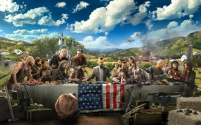 Wallpaper clouds, Far Cry 5, the bandits, people, the plane, art, Church, table, flag, bear, weapons