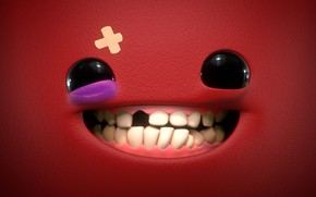 Picture art, smiley, Super Meat Boy, Mathieu Maurel