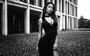 Picture look, sexy, pose, model, the building, portrait, makeup, figure, slim, dress, area, hairstyle, black and …