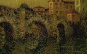 Picture picture, the urban landscape, Henry Le Sedane Products, Henri Le Sidane, Bridge at Dusk. Dinan