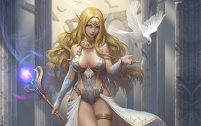 Wallpaper art, healer, BumJin Kim, dove, girl, elf, elf, fantasy
