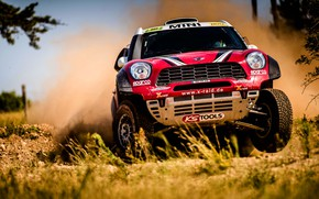 Picture Red, Auto, Mini, Dust, Sport, Speed, Race, Rally, SUV, Rally, The front, X-Raid Team, MINI …