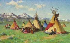 Wallpaper mountains, the Indians, home, Joseph Henry Sharp, The Medicine Teepee