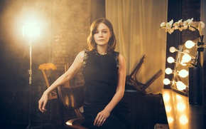 Picture light, lamp, makeup, dress, actress, mirror, hairstyle, brown hair, photoshoot, posing, in black, on the …