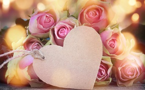 Wallpaper buds, heart, love, valentine`s day, roses, pink, romantic, roses, flowers