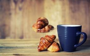 Picture coffee, food, Breakfast, mug, Cup, croissants