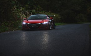 Picture lights, supercar, Honda NSX, Liberty Walk, night road