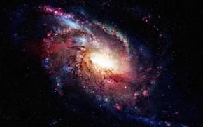 Wallpaper space, galaxy, stars, light, darkness