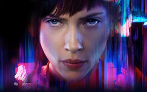 Wallpaper cinema, film, manga, brunette, Major, face, movie, Scarlett Johansson, Ghost In The Shell, anime, mecha