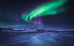 Wallpaper winter, night, Northern lights, North