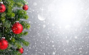Picture snow, decoration, balls, tree, New Year, Christmas, Christmas, balls, snow, Merry Christmas, Xmas, decoration