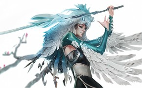 Picture girl, weapons, feathers, profile