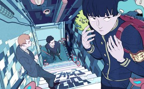 Picture street, anime, art, guys, Mob Psycho 100