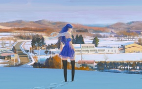 Wallpaper winter, road, the sky, girl, snow, traces, hills, home, stockings, Japan, scarf, blue dress, half ...