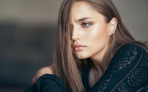Picture girl, pose, portrait, makeup, hairstyle, brown hair, beautiful, bokeh