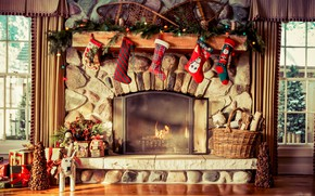 Picture comfort, heat, holiday, gifts, New year, socks, fireplace, Rojstvo