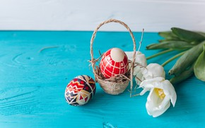 Picture flowers, holiday, eggs, Easter, tulips, basket, flowers, tulips, Easter, eggs, holiday, basket