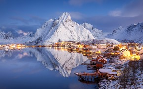 Wallpaper The Lofoten Islands, mountains, snow, winter, home, Norway, the evening, lake, Pure, Norway, Raphael Messmer, ...