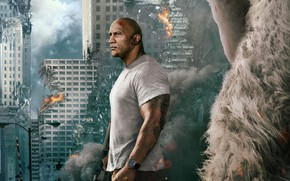 Wallpaper fire, gorilla, disaster, fiction, Rempeydzh, smoke, the city, Dwayne Johnson, the ruins, home, background, Dwayne ...
