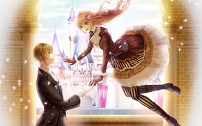 Picture girl, romance, anime, art, guy, two, soars