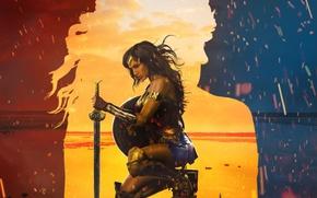 Wallpaper fire, Diana, shield, sand, blade, sea, League of Justice, DC Comics, gauntlet, warrior, cinema, film, ...