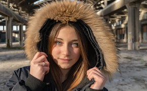 Picture girl, face, hair, hood