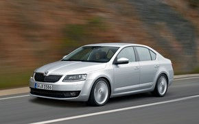 Picture road, markup, speed, blur, sedan, Skoda, 2013, Skoda, Octavia, gray-silver