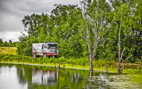 Picture Water, Nature, Lake, Trees, Sport, Speed, Clouds, Race, Trucks, Russia, Rally, Rally, Overcast, Silk road, …